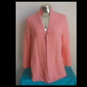 Crown&Ivy Coral Pink Lightweight Cardigan Sz M
